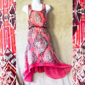 Tribal Print Dress High-Low Bisou Bisou